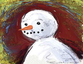 Snowman Looking Back