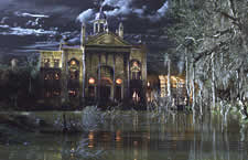 camera pans to show very nice CGI haunted mansion