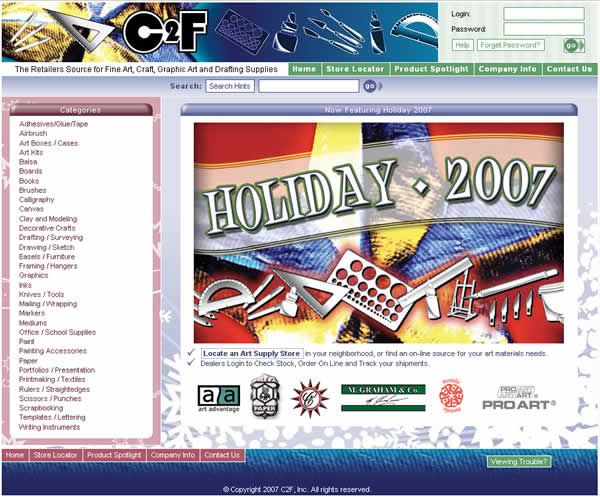 C2F Web Site Holiday 2007 Theme